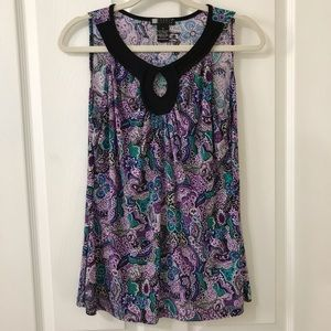 Carol Little Tank Top Purple Black Green Print